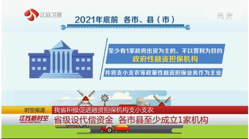江苏省积极促进融资担保机构支小支农 省级设代偿资金 各市县至少成立1家机构
