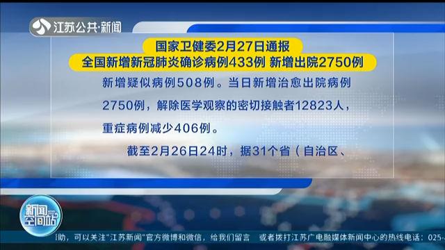 国家卫健委2月27日通报 全国新增新冠肺炎确诊病例433例 新增出院2750例