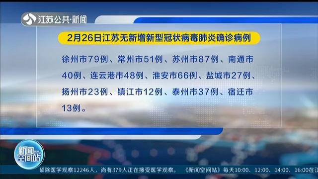 2月26日江苏无新增新型冠状病毒肺炎确诊病例