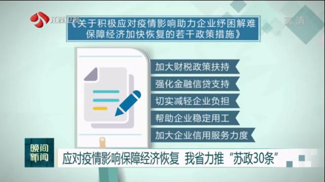 """应对疫情影响保障经济恢复 江苏力推""""苏政30条"""""""